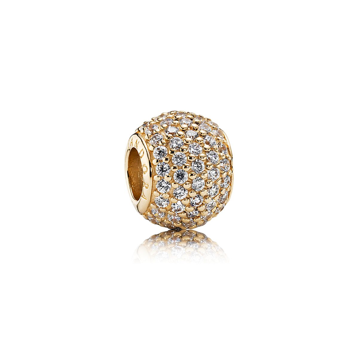 Abstract pave gold charm with cubic zirconia