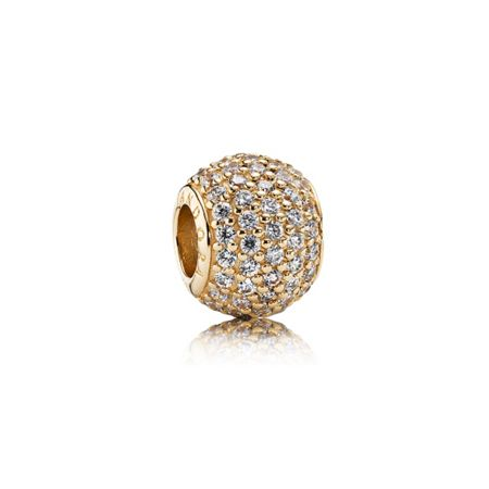Pandora Abstract pave gold charm with cubic zirconia