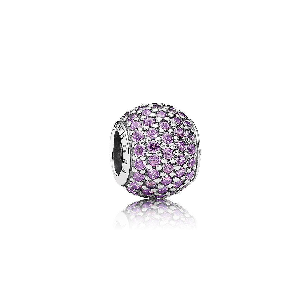 Fancy purple cubic zirconia pave silver charm
