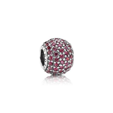 Pandora Red cubic zirconia pave silver charm