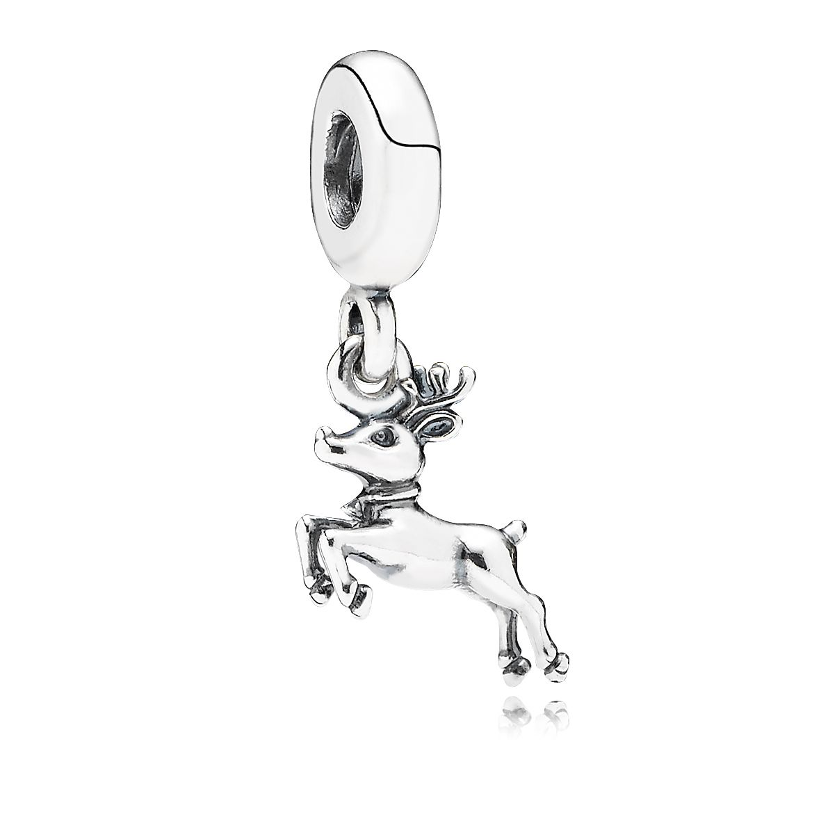 Reindeer silver dangle charm