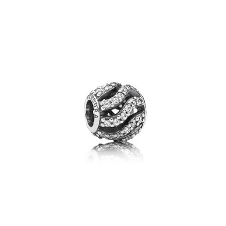 Pandora Cubic zirconia openwork pave waves silver charm