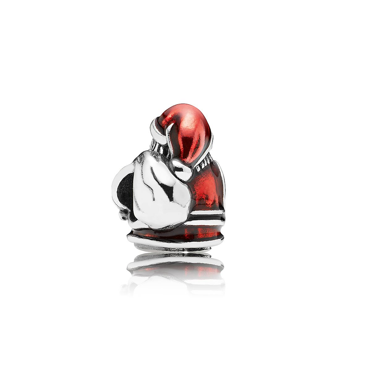 Red enamel Father Christmas silver charm