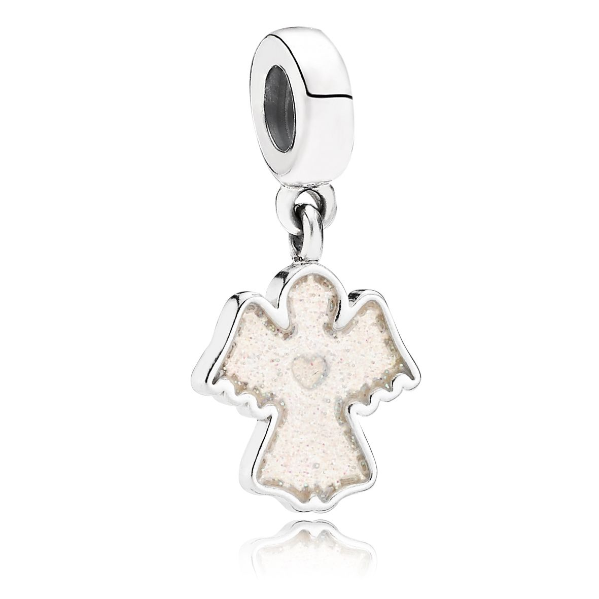 Glitter enamel angel silver dangle charm