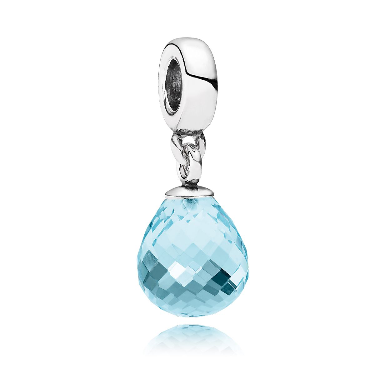 Ice blue faceted glass silver dangle charm