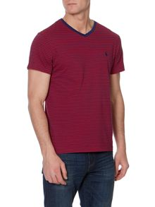 Classic fine stripe v neck t-shirt
