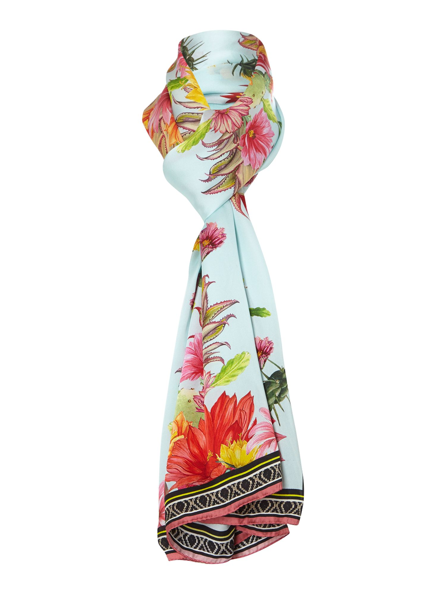 Cactus garden silk satin long scarf