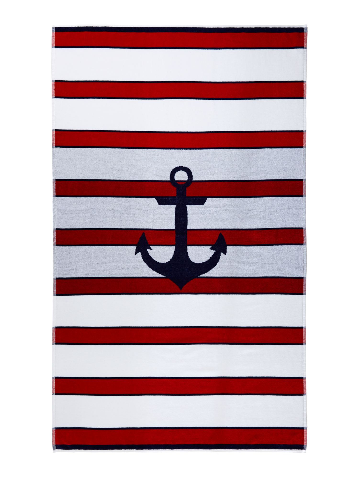 Nautical anchor stripe beach towel