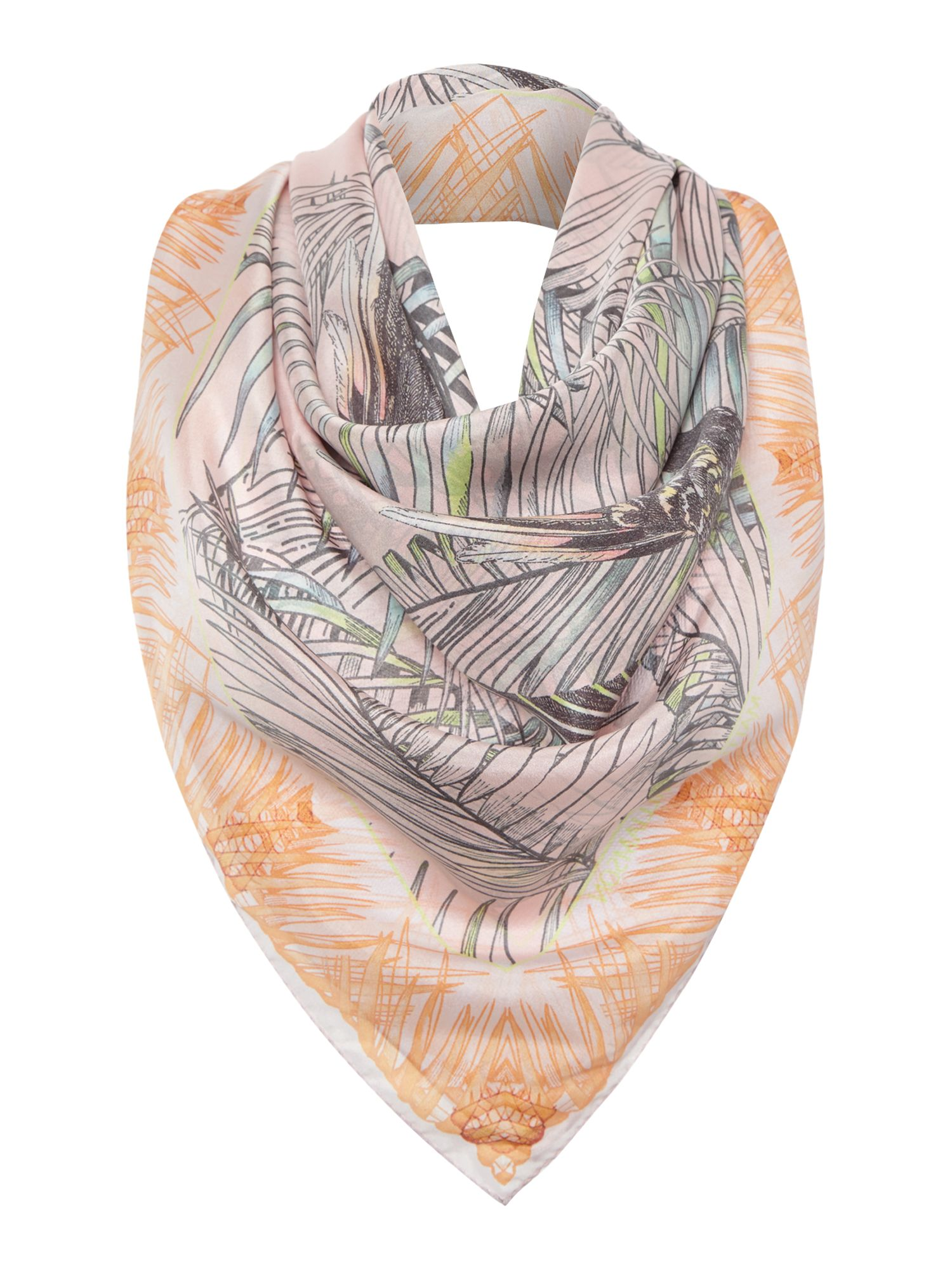 Song bird silk square scarf