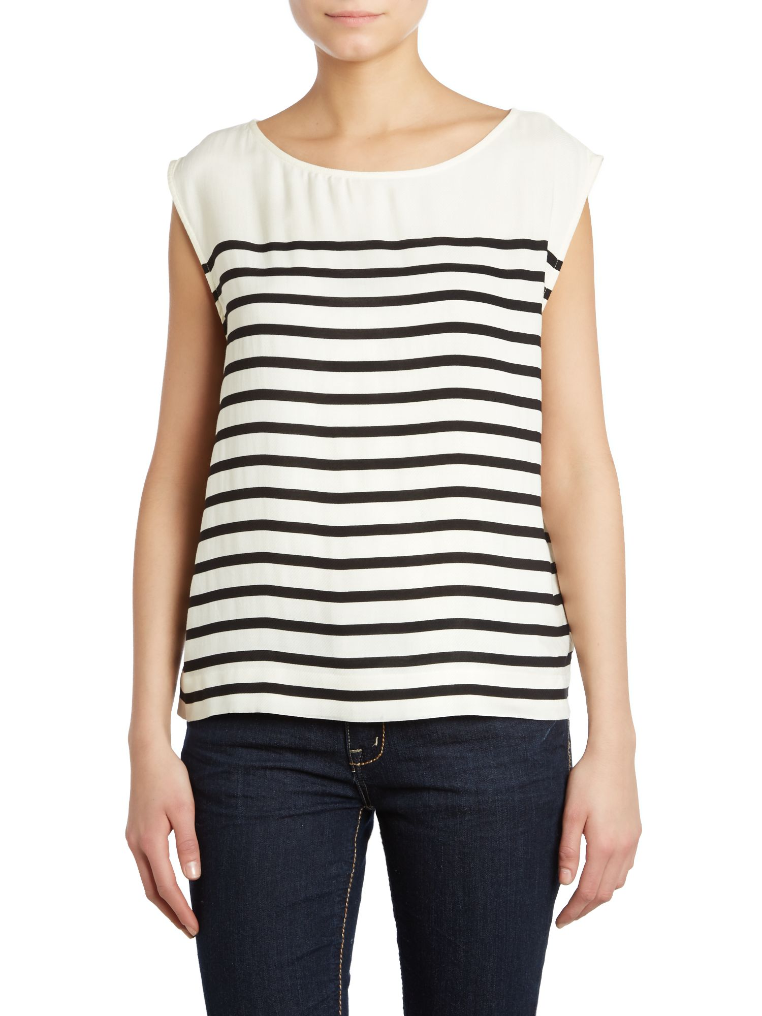 Short sleeve round neck stripe top
