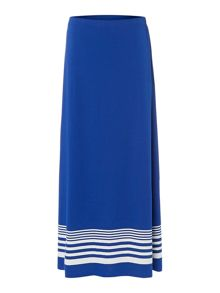 Maxi border stripe skirt