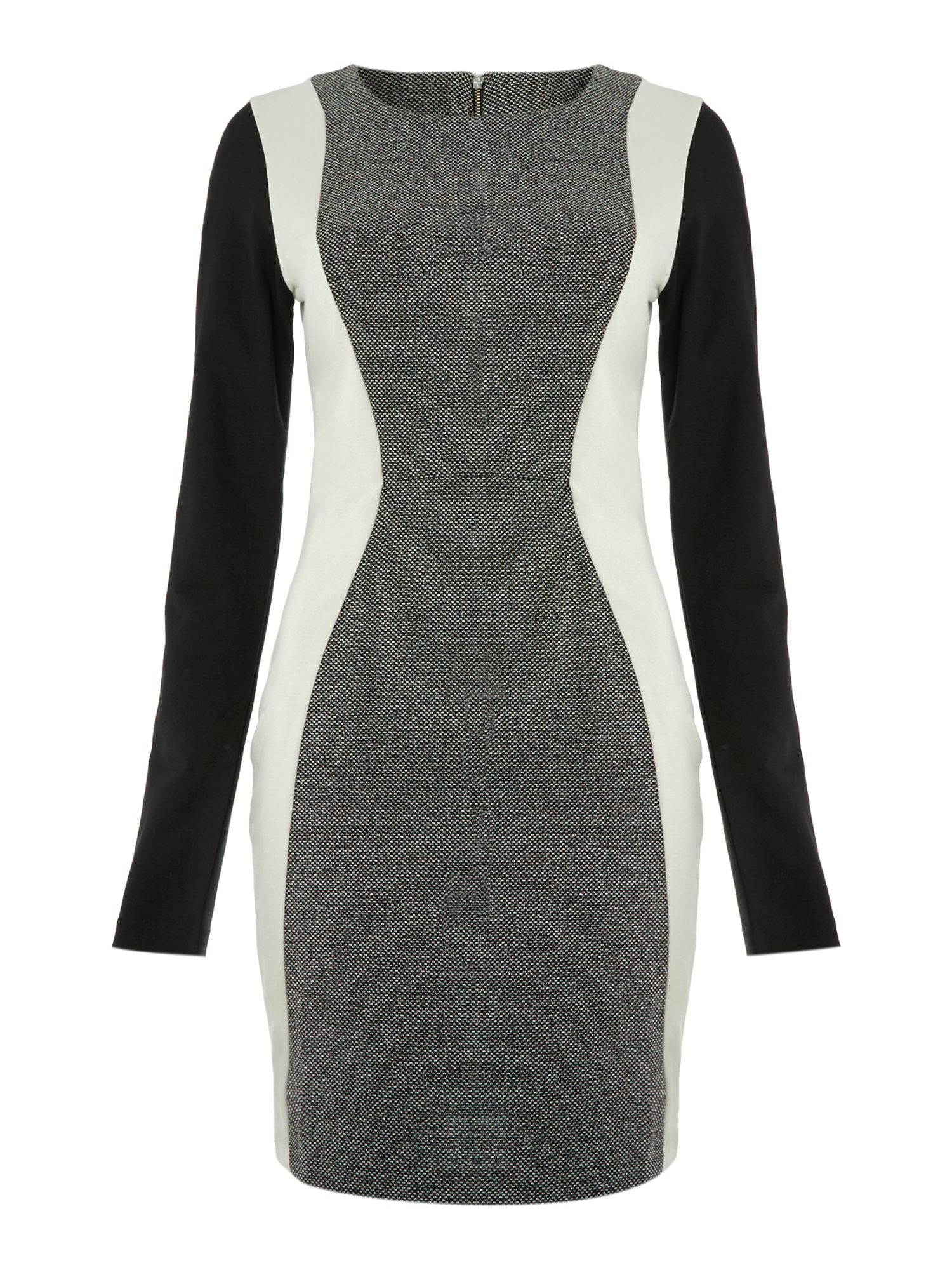 Long sleeve panel bodycon dress