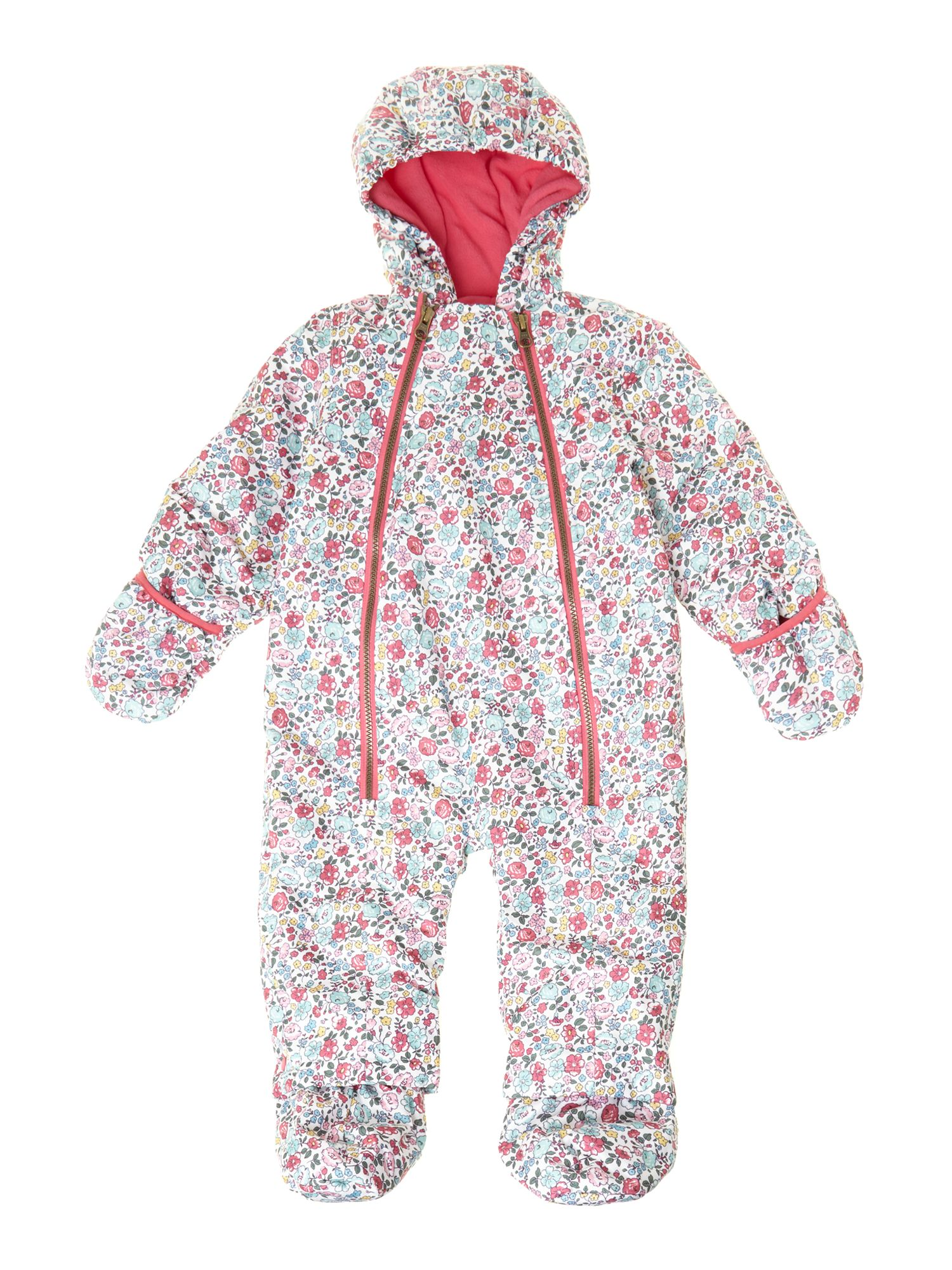 Girl`s ditsy print snowsuit