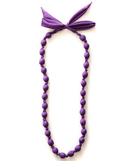 Bead and bow silk necklace