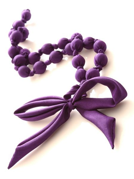 East Bead and bow silk necklace