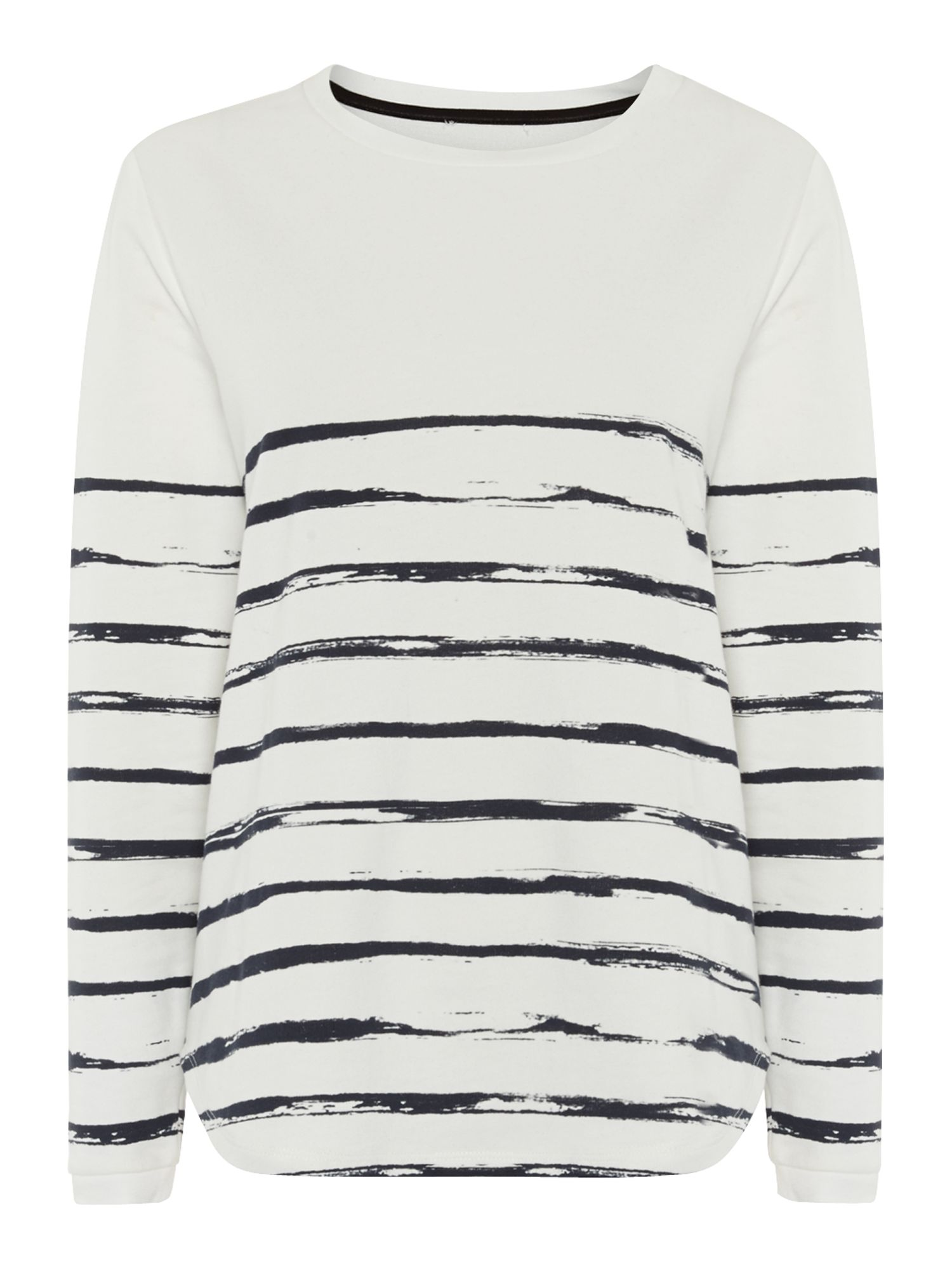 Brush stripe long sleeve sweat top