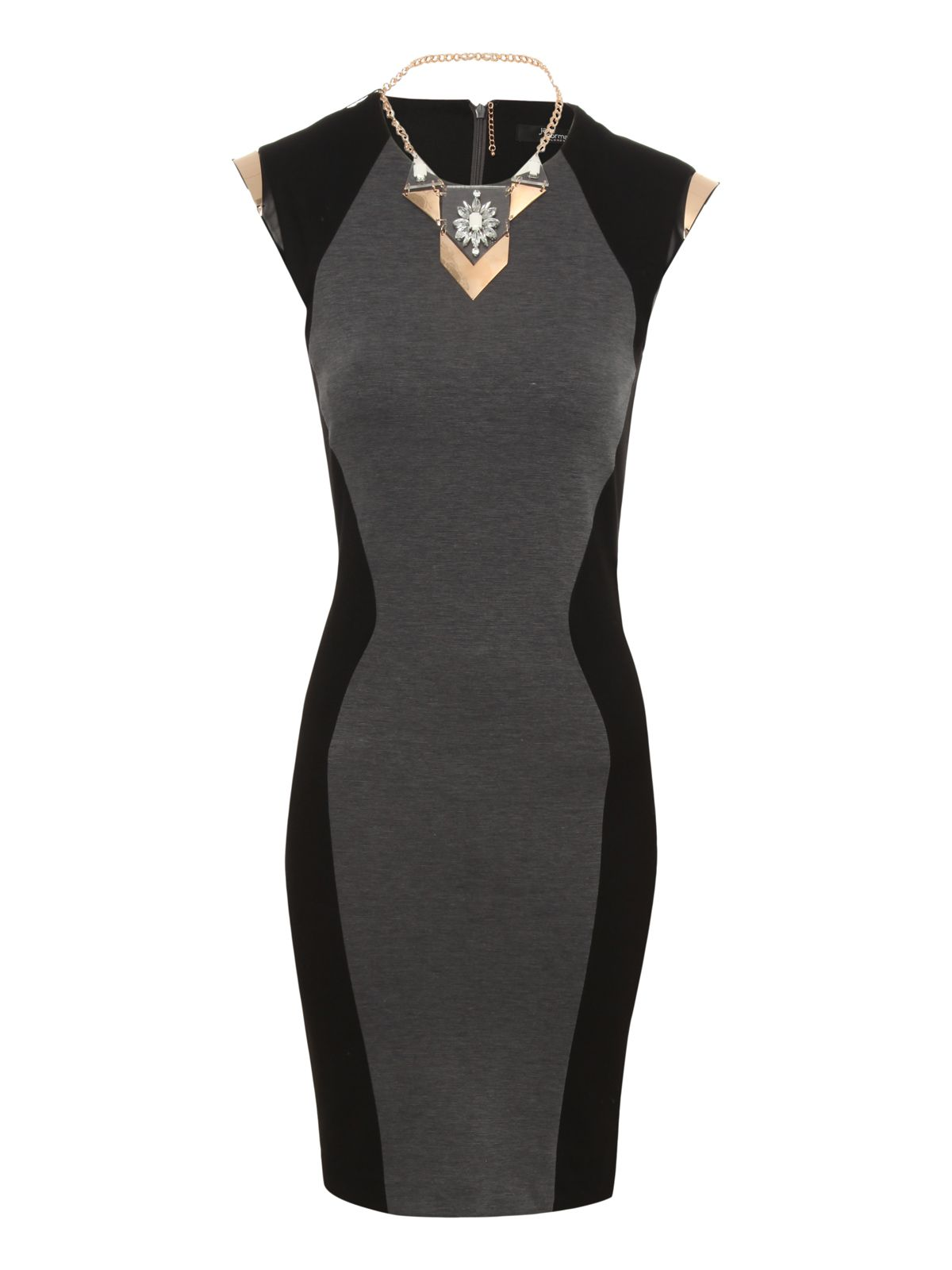 Illusion necklace bodycon dress