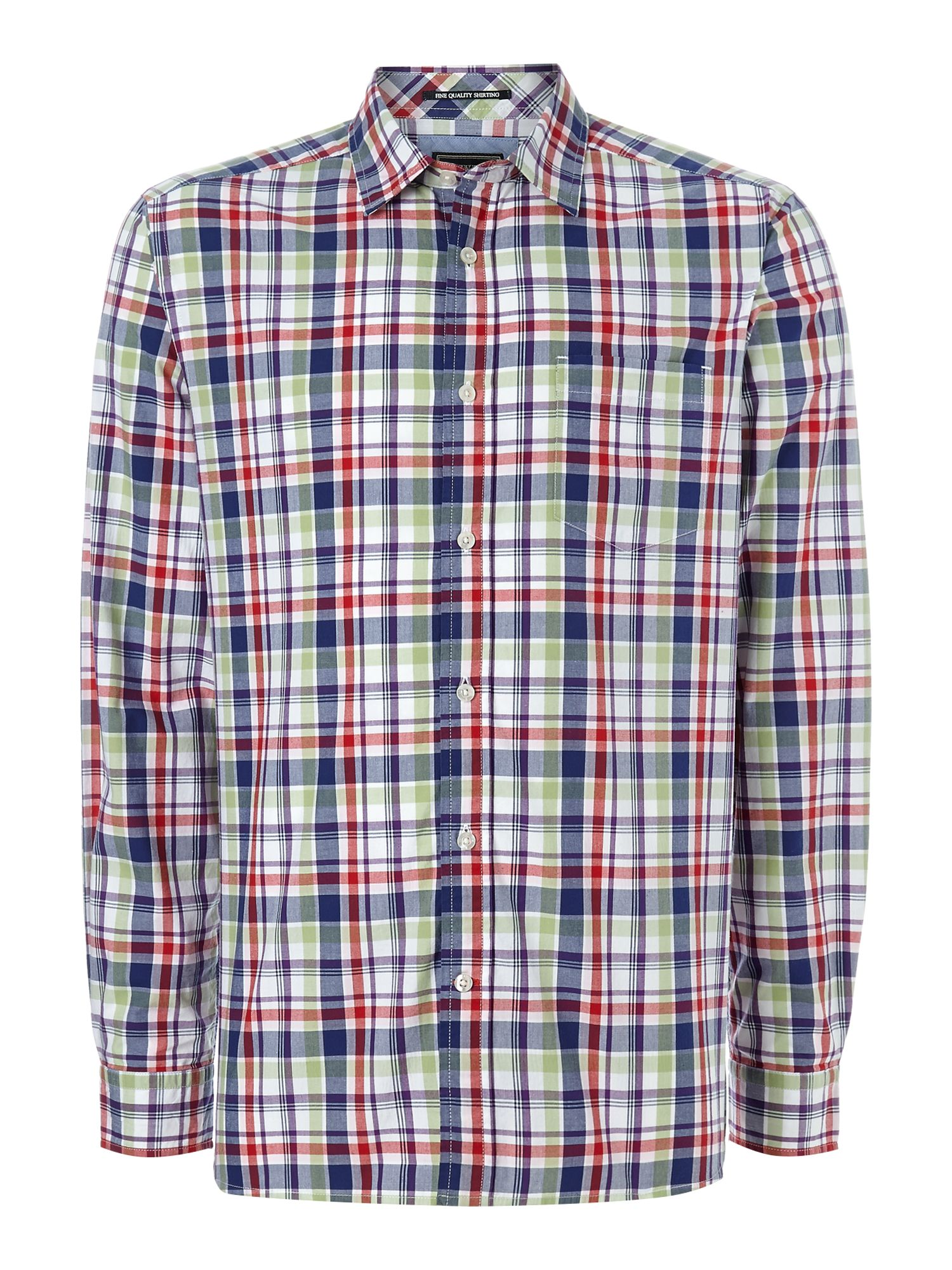 menton check long sleeve shirt