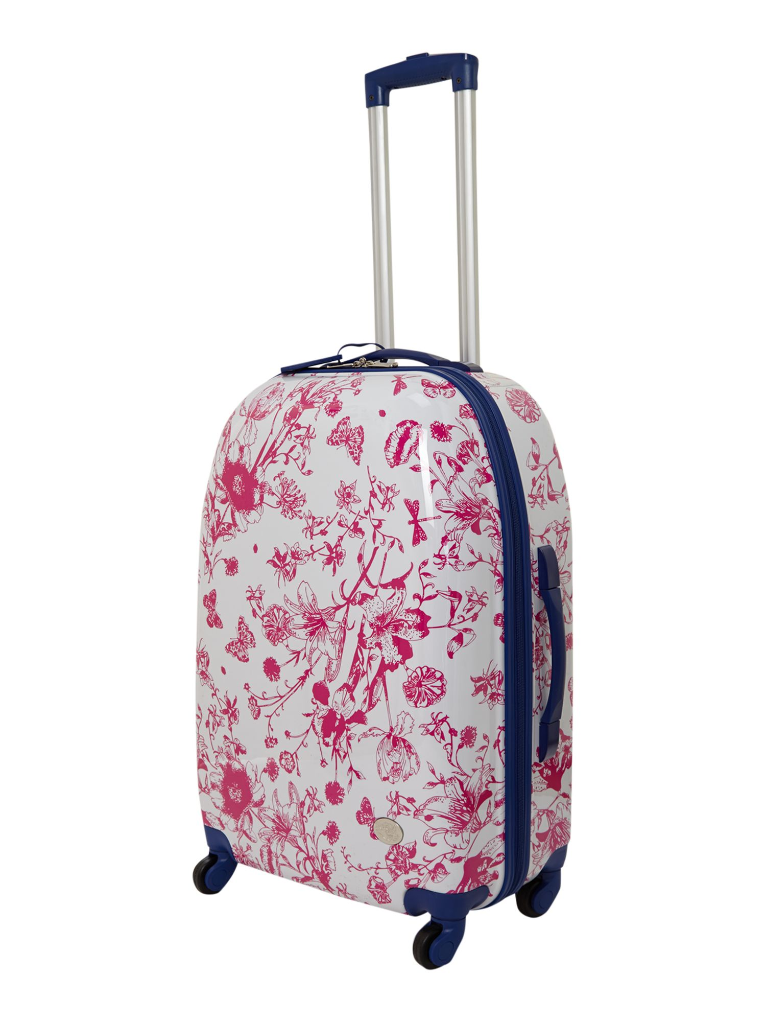 Spring butterfly floral 4 wheel hard medium case