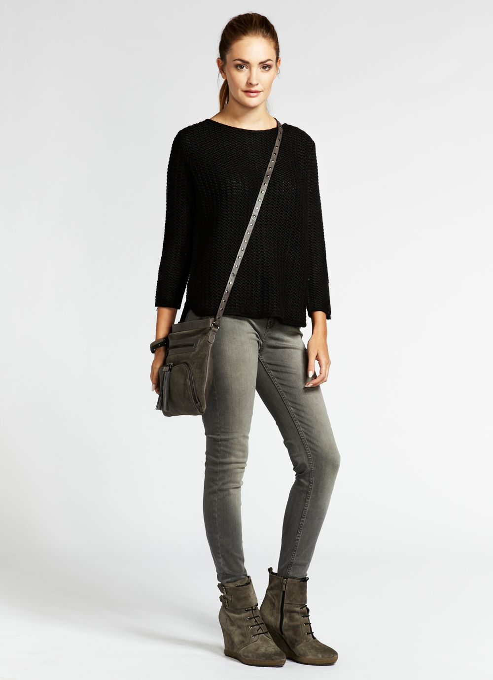 Black zip back boxy knit