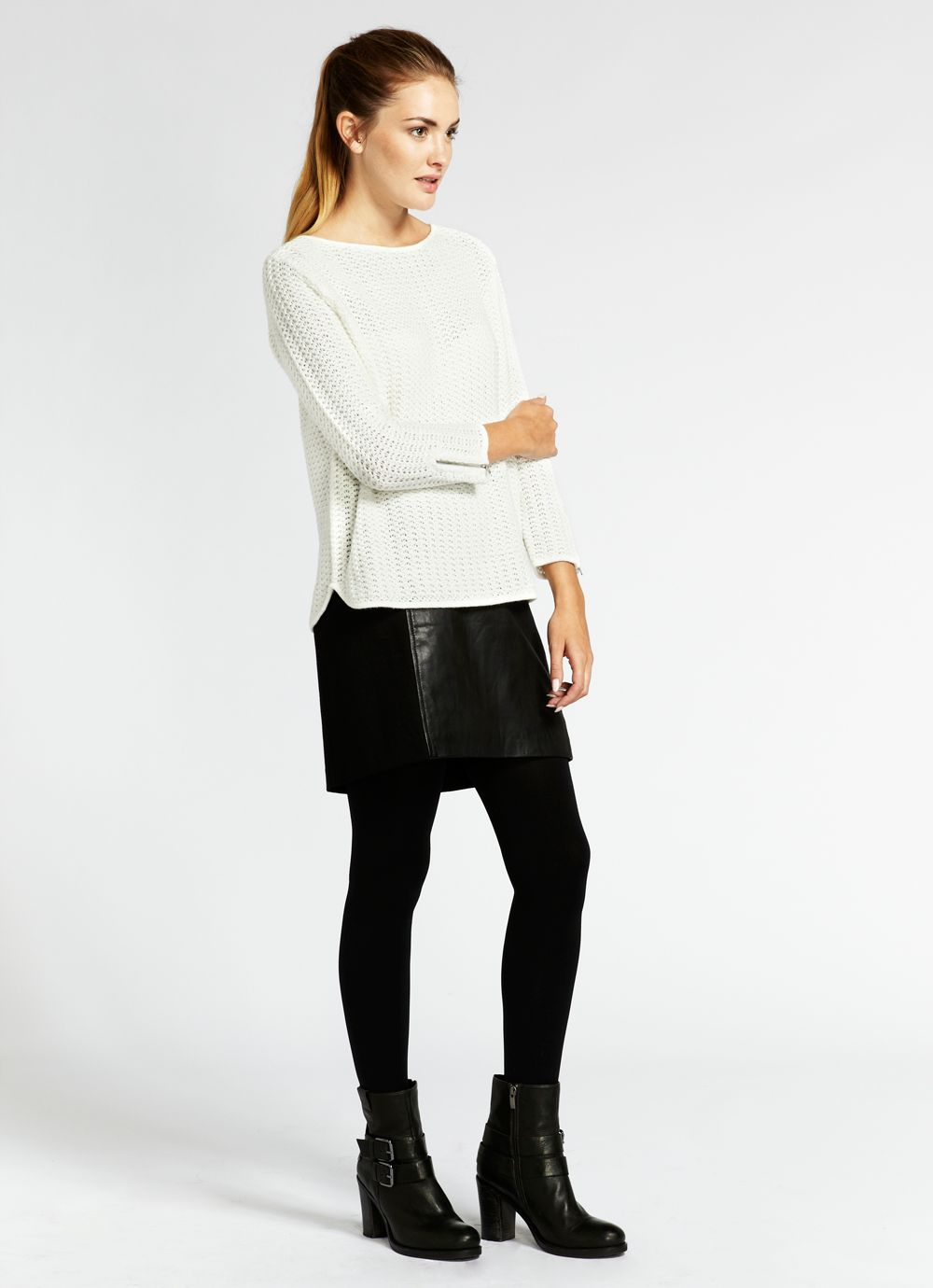 Ivory zip back boxy knit