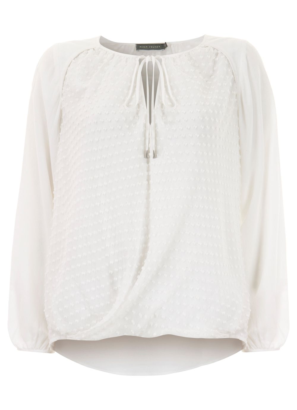Ivory textured peasant blouse