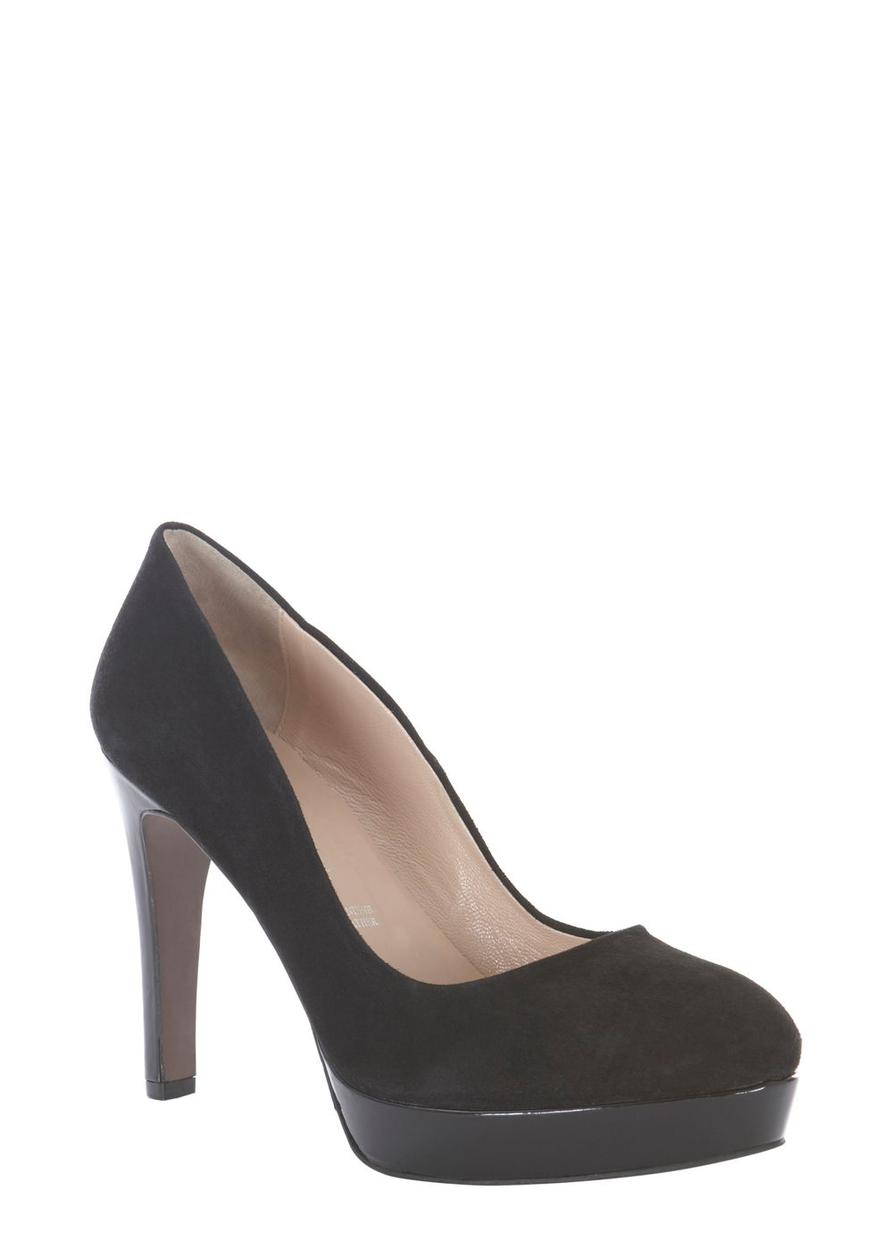 Black suede court shoes