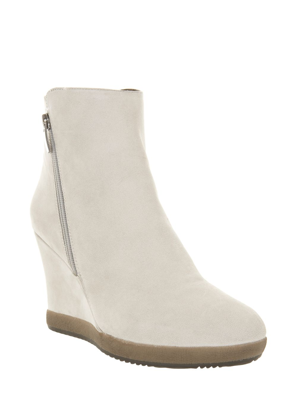 Stone suede wedge zip boots