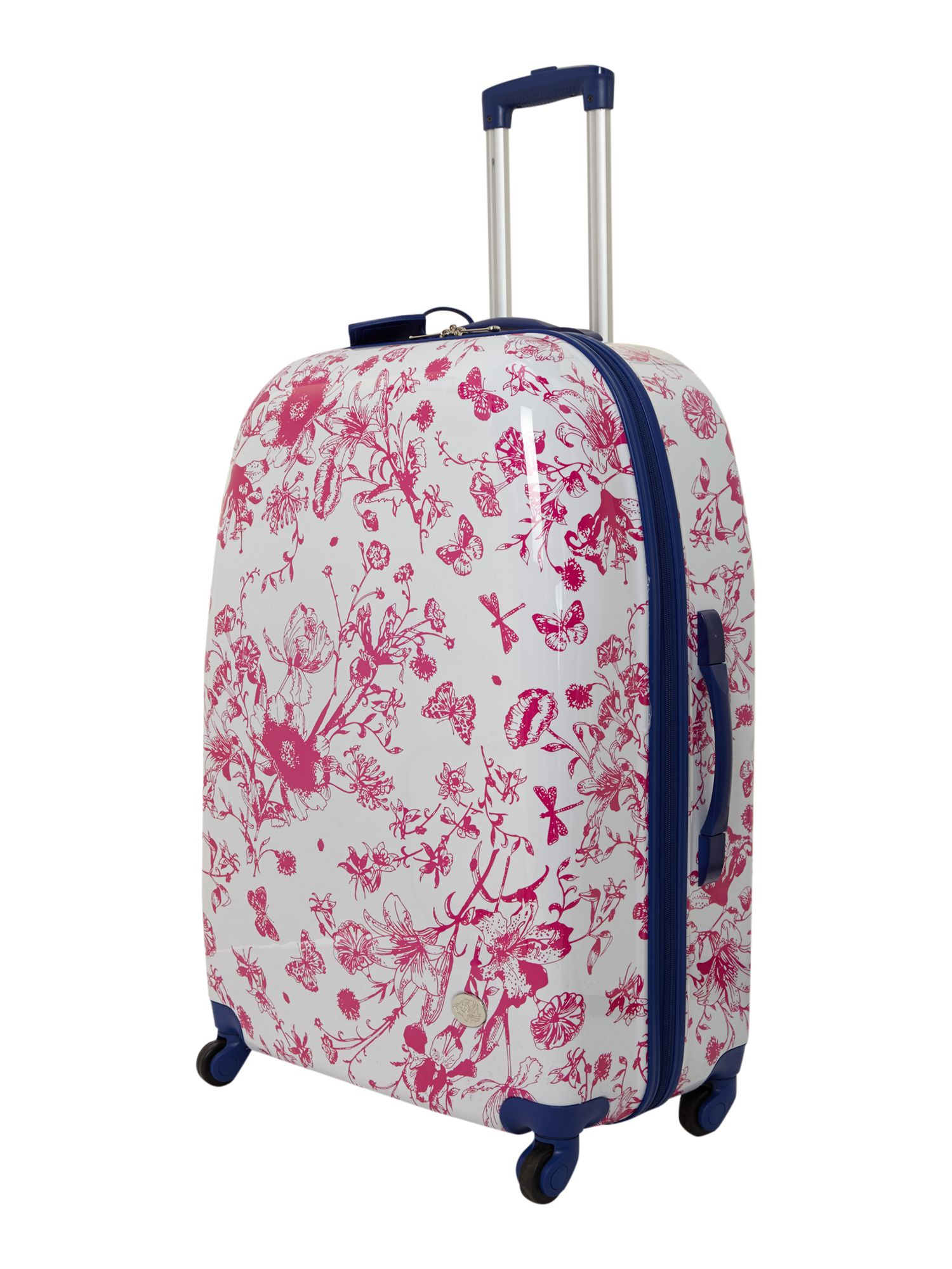 Spring butterfly floral 4 wheel hard large case