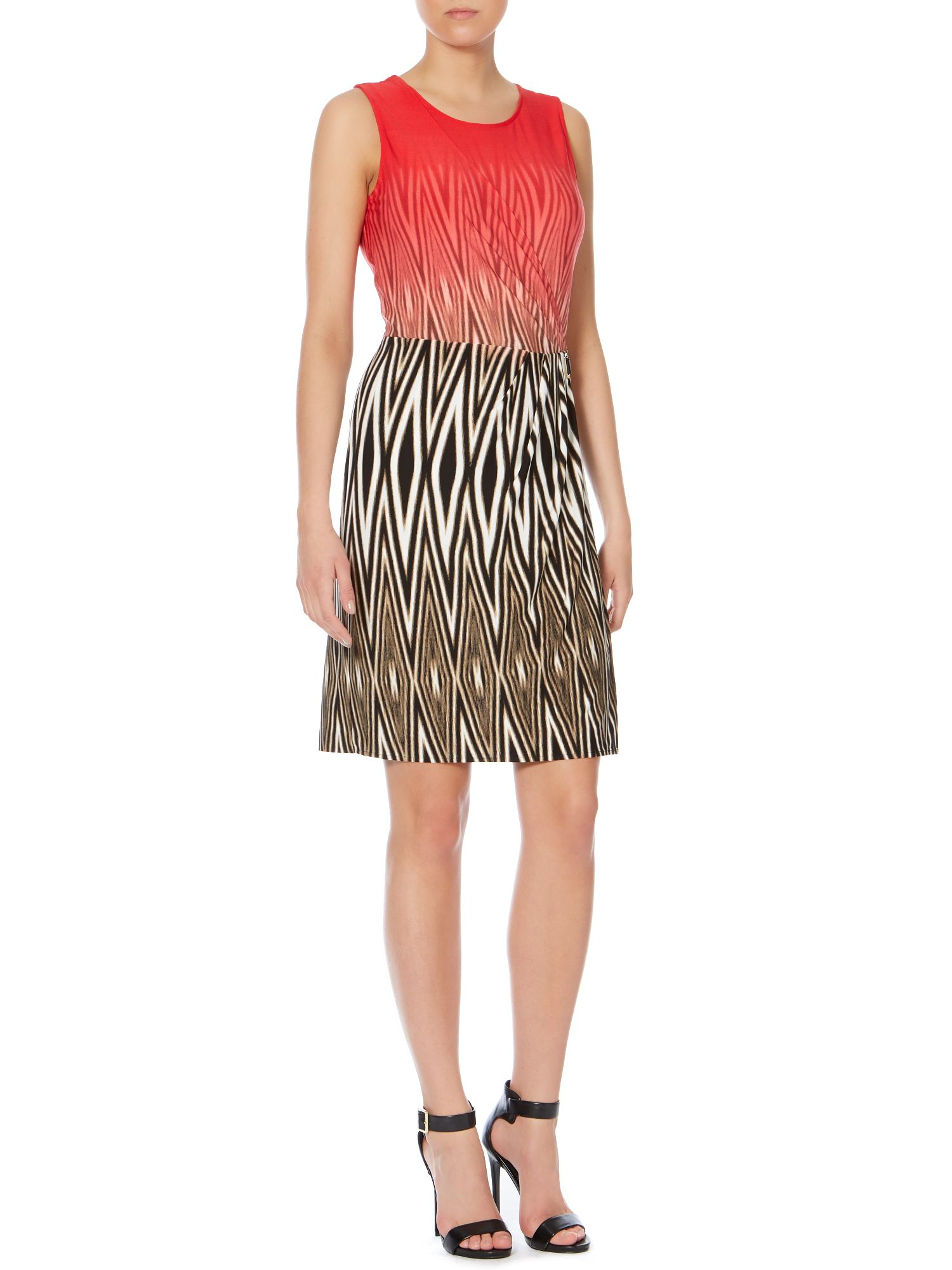 Sunset zebra print wrap dress