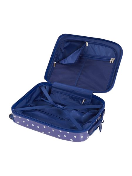 Polka dot print 4 wheel hard cabin case navy