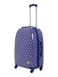 Polka dot print 4 wheel hard medium case navy