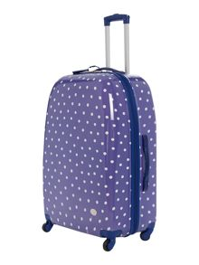 Polka dot print 4 wheel hard large case navy