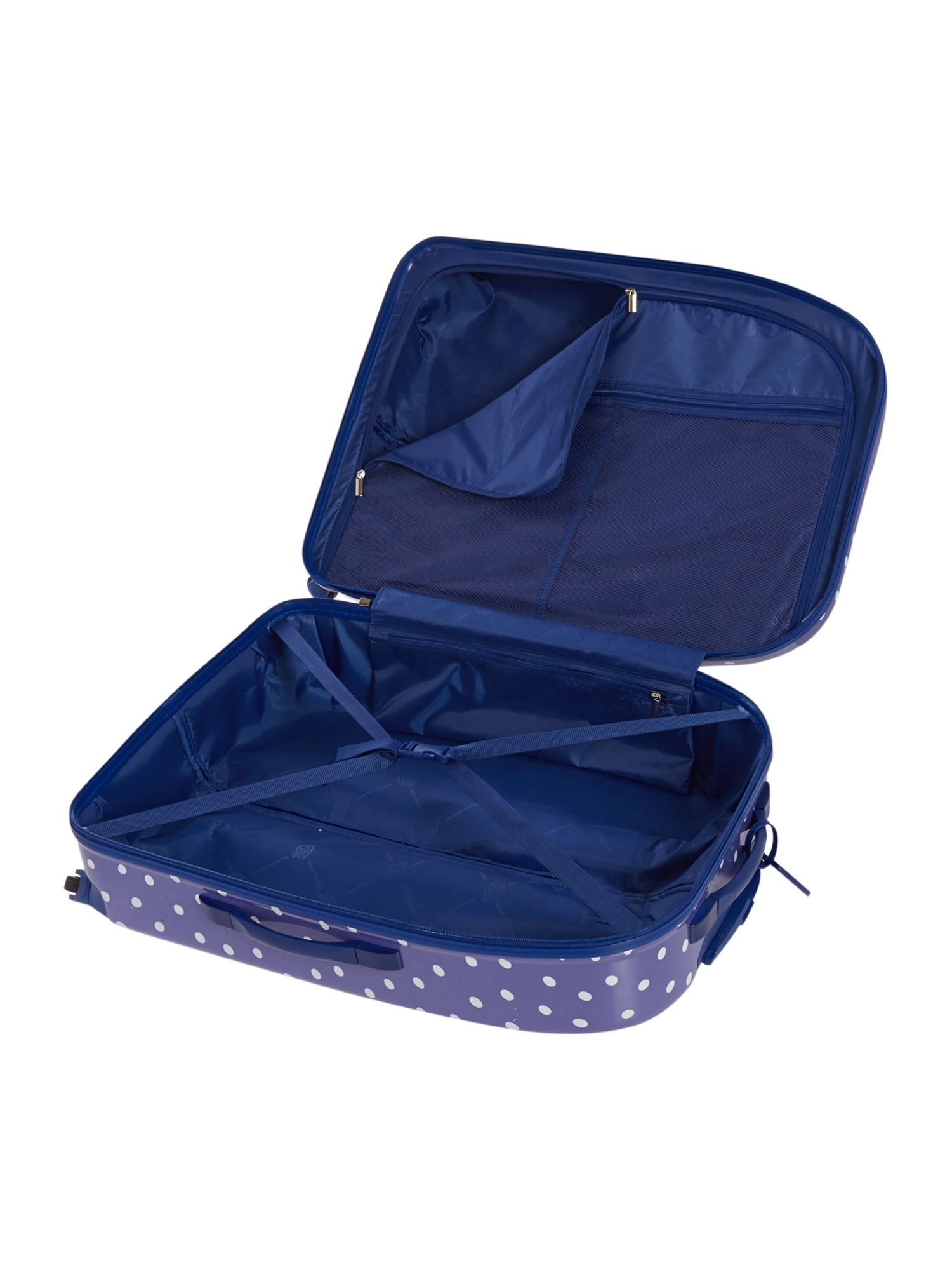 Polka dot print 4 wheel hard large case
