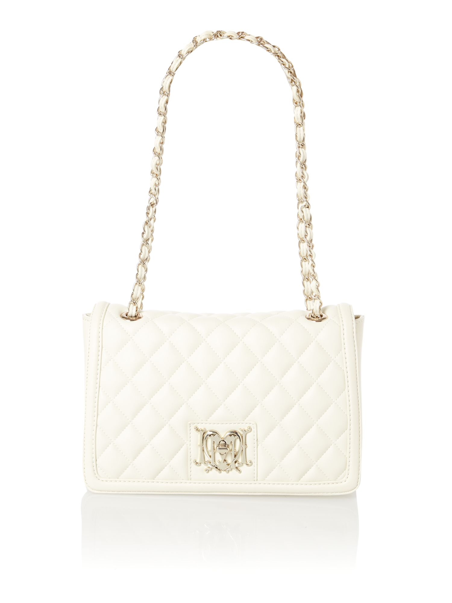 White medium flapover quilted shoulder bag