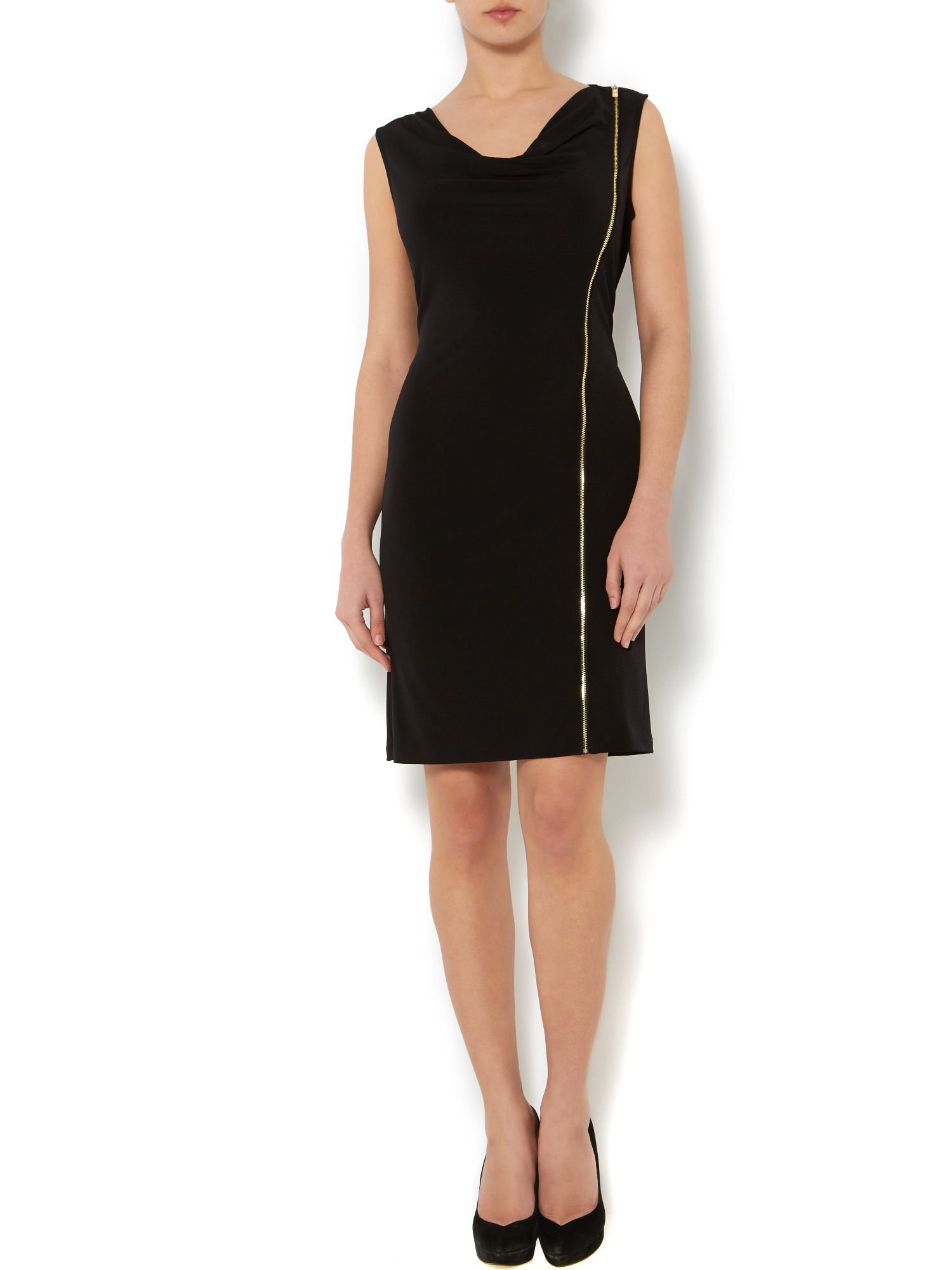 Cowl front zip side dress