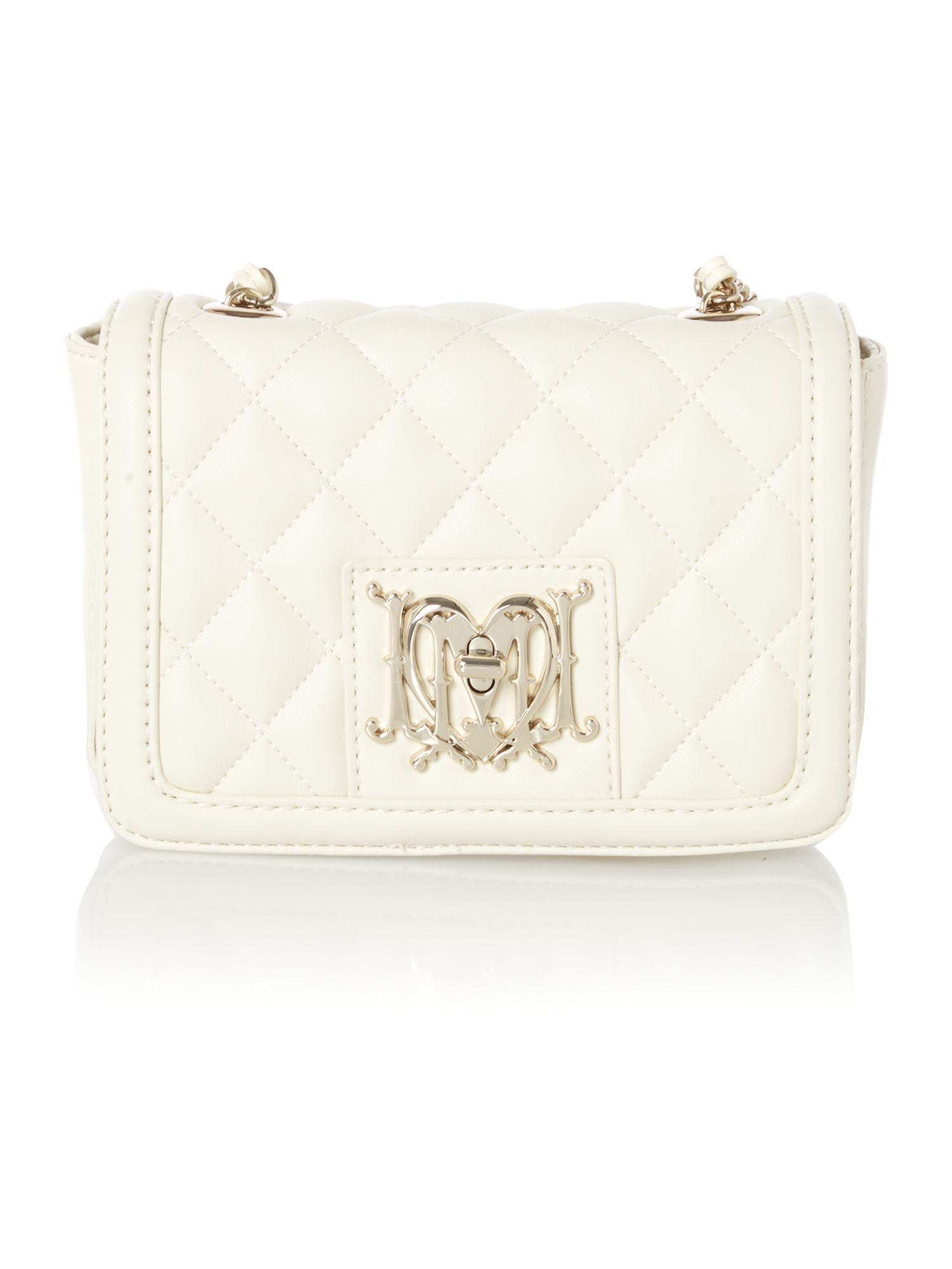 White mini quilt cross body bag