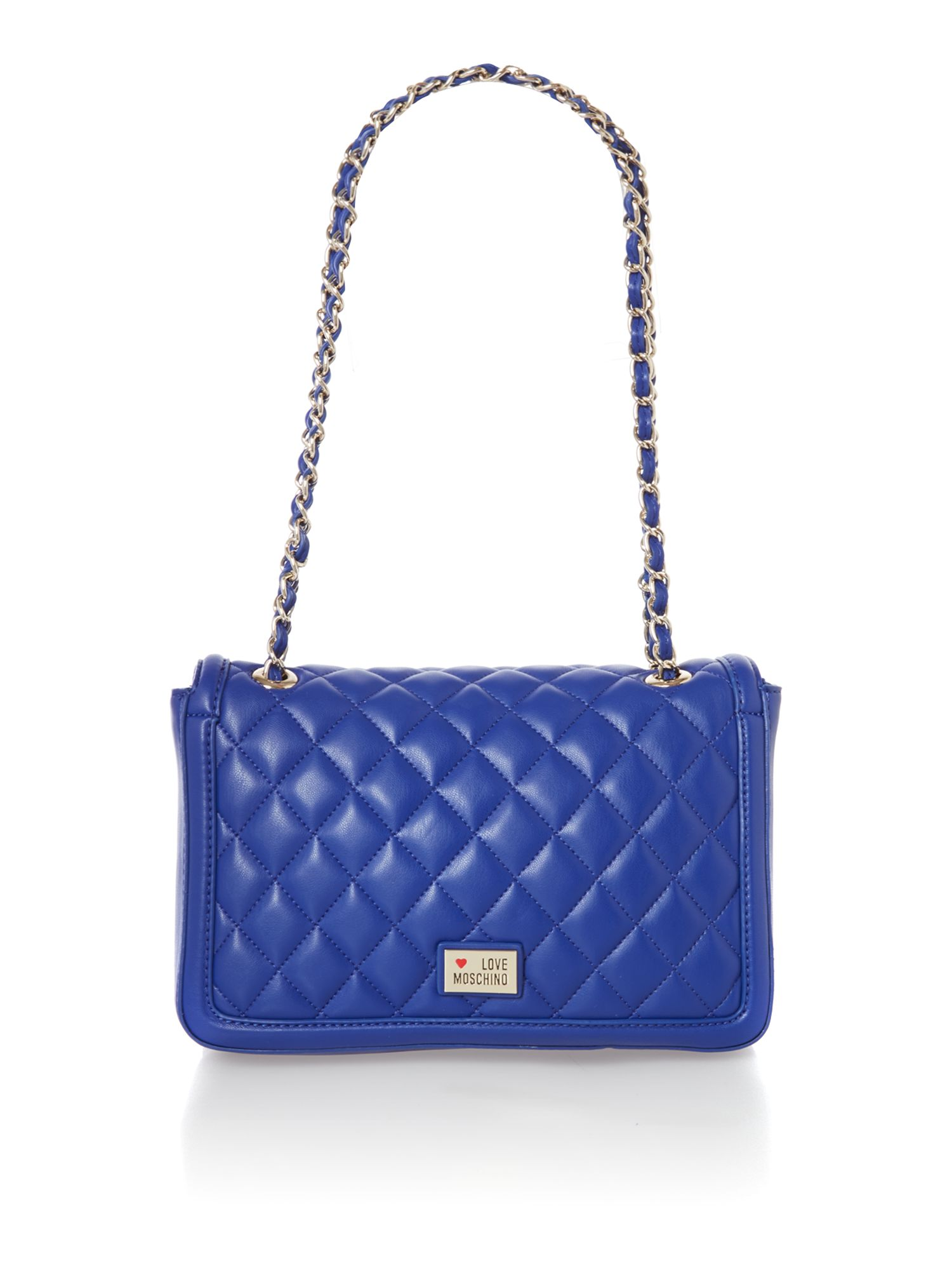 Blue medium quilt flapover shoulder bag