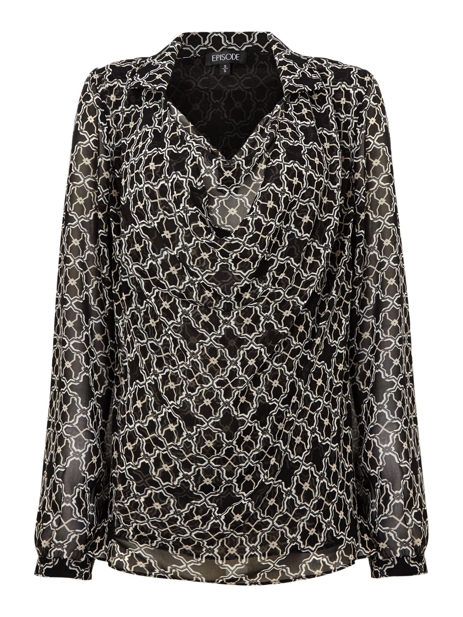 Tile Printed Blouse With A Cowl Neck