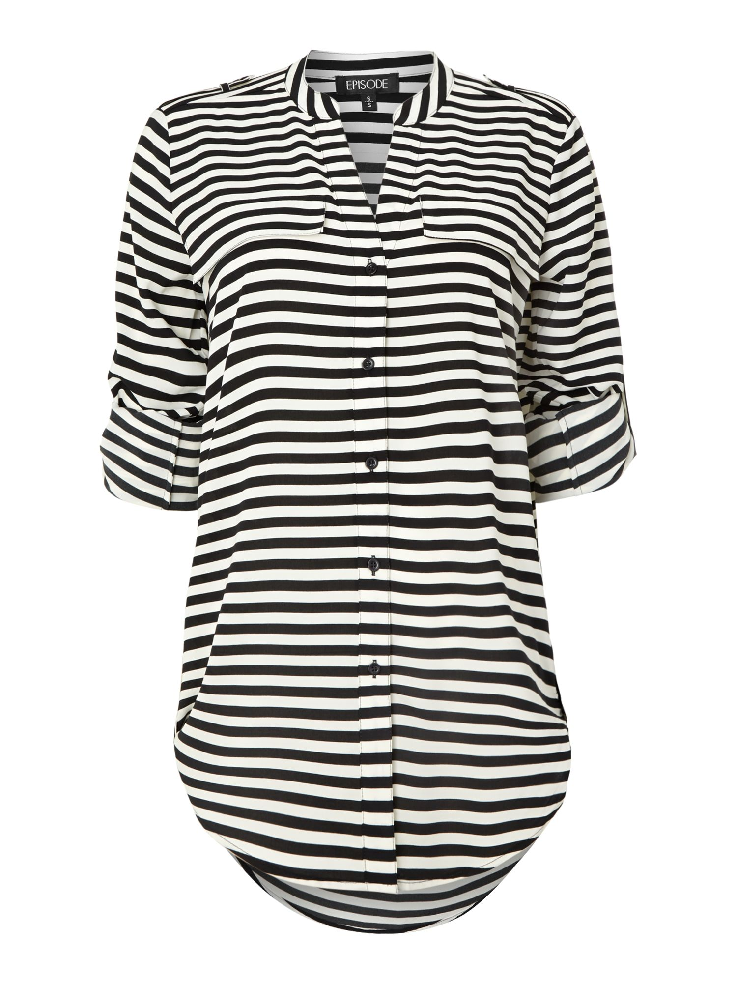 Stripe 3/4 Sleeve Shirt With Roll Up Sleeves