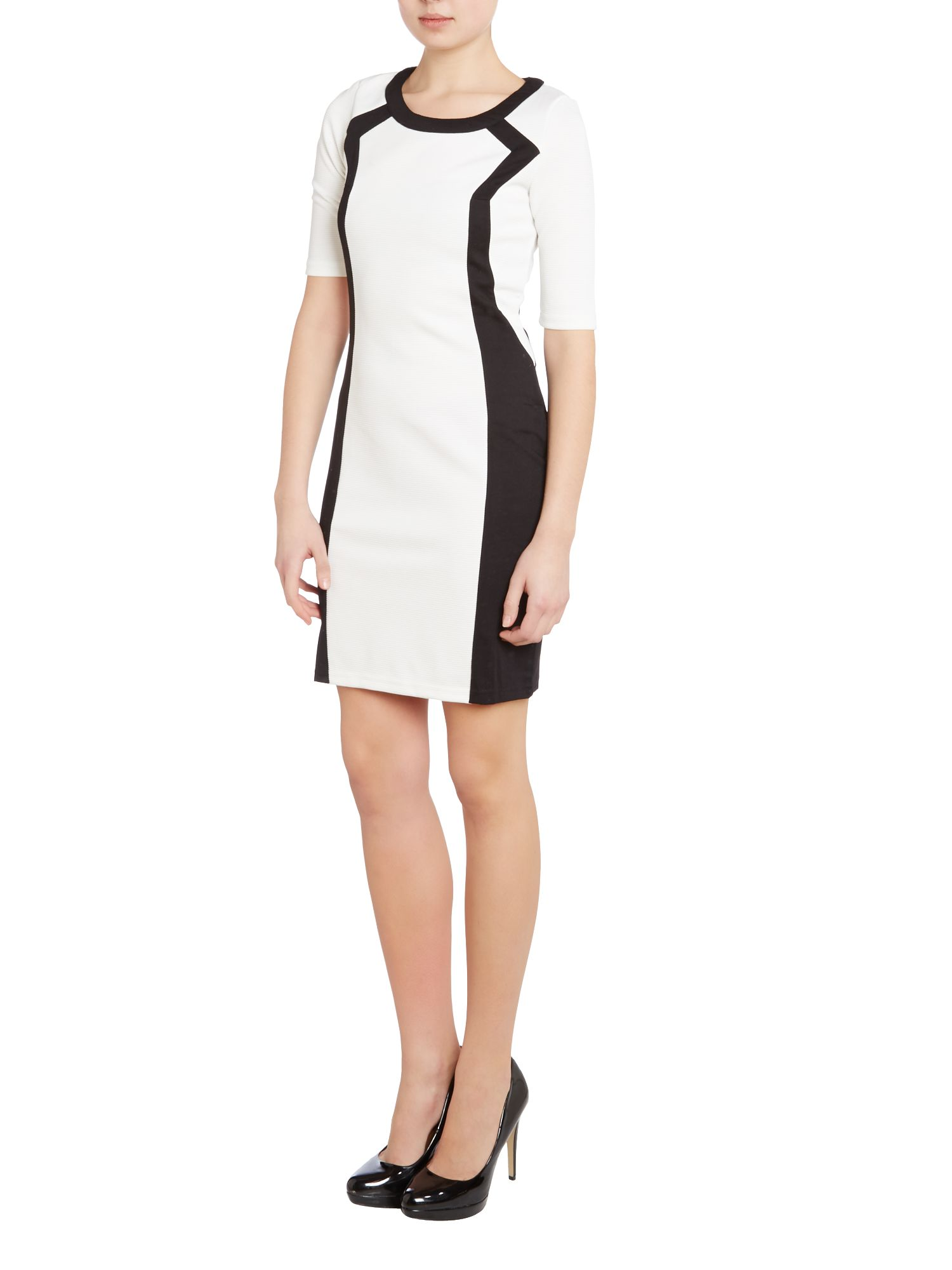 3/4 Sleeve contrast bodycon dress