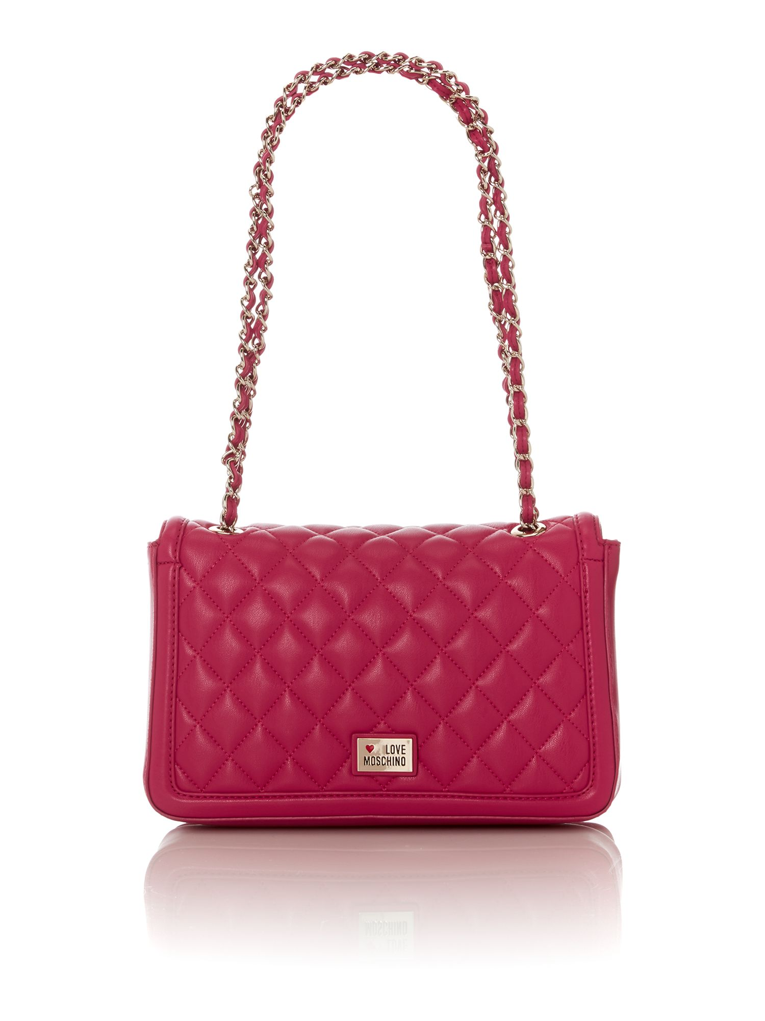 Pink medium quilt flapover shoulder bag