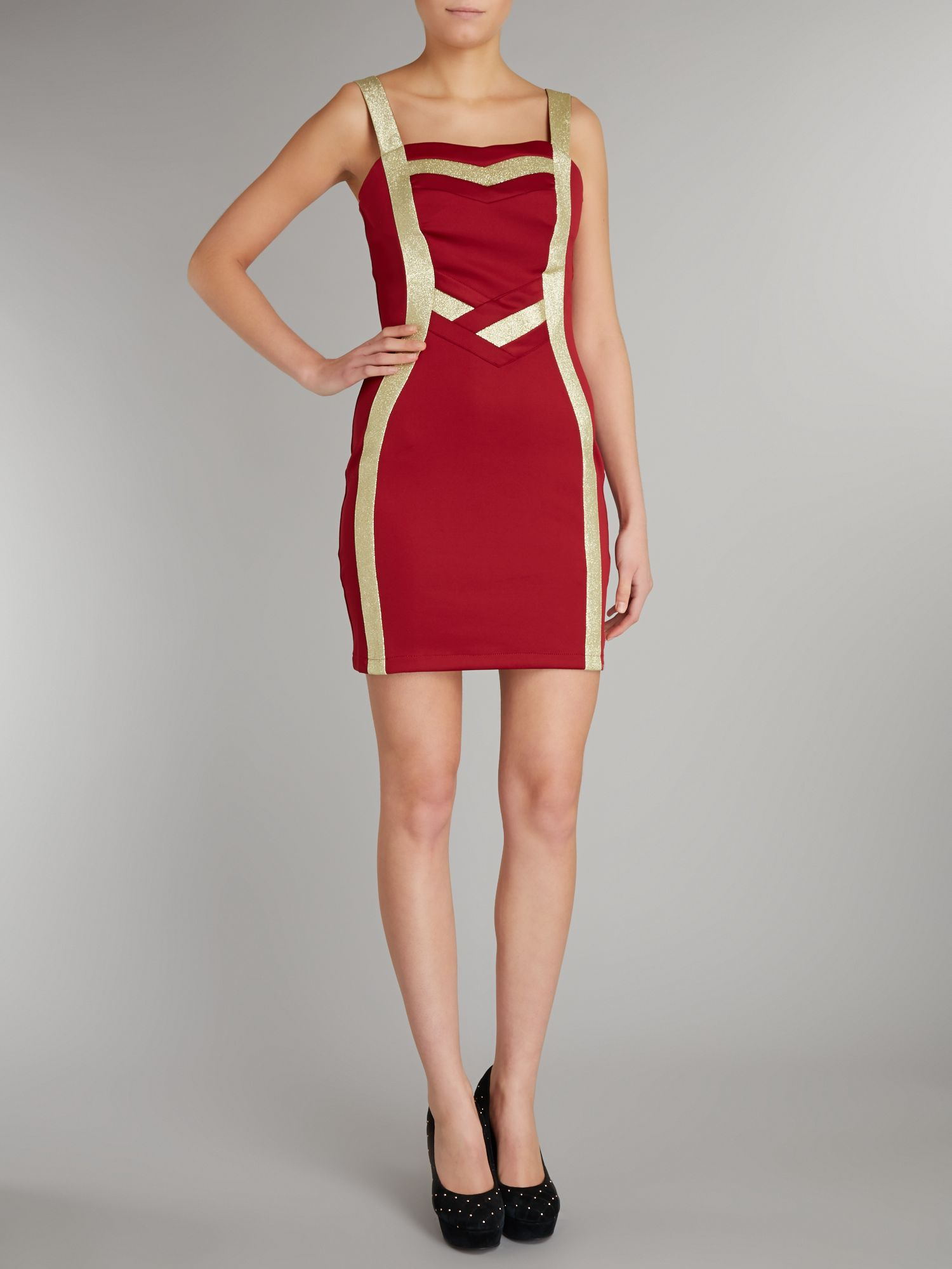 Sparkly panelled bodycon dress