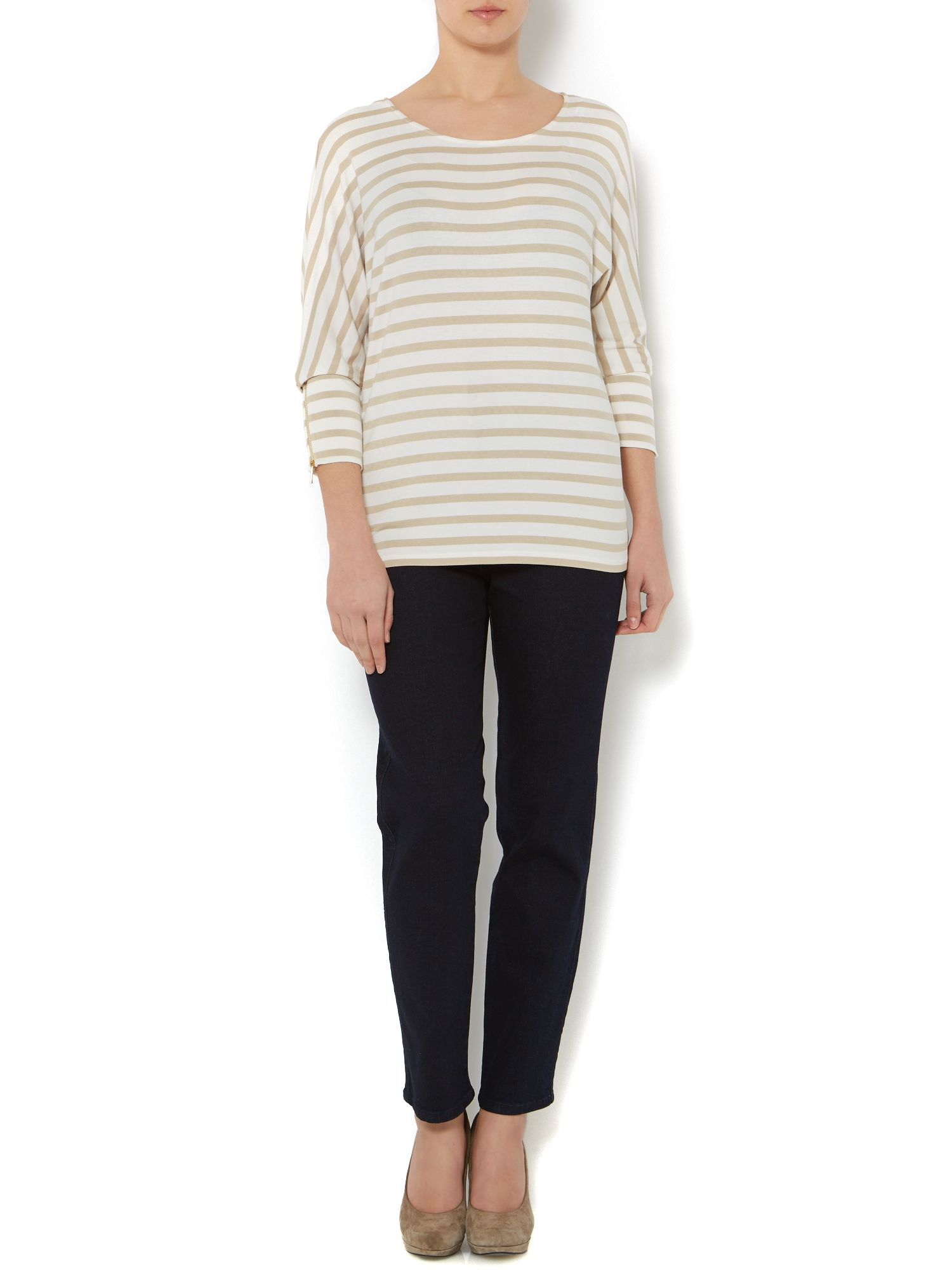 Stripe jersey long sleeve top