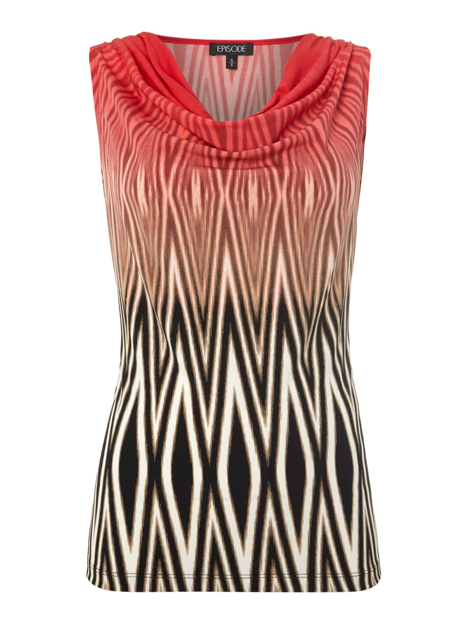 Cowl Neck Sunset Zebra Printed Top