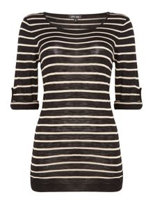 Stripe knitted Top with 3/4 sleeves