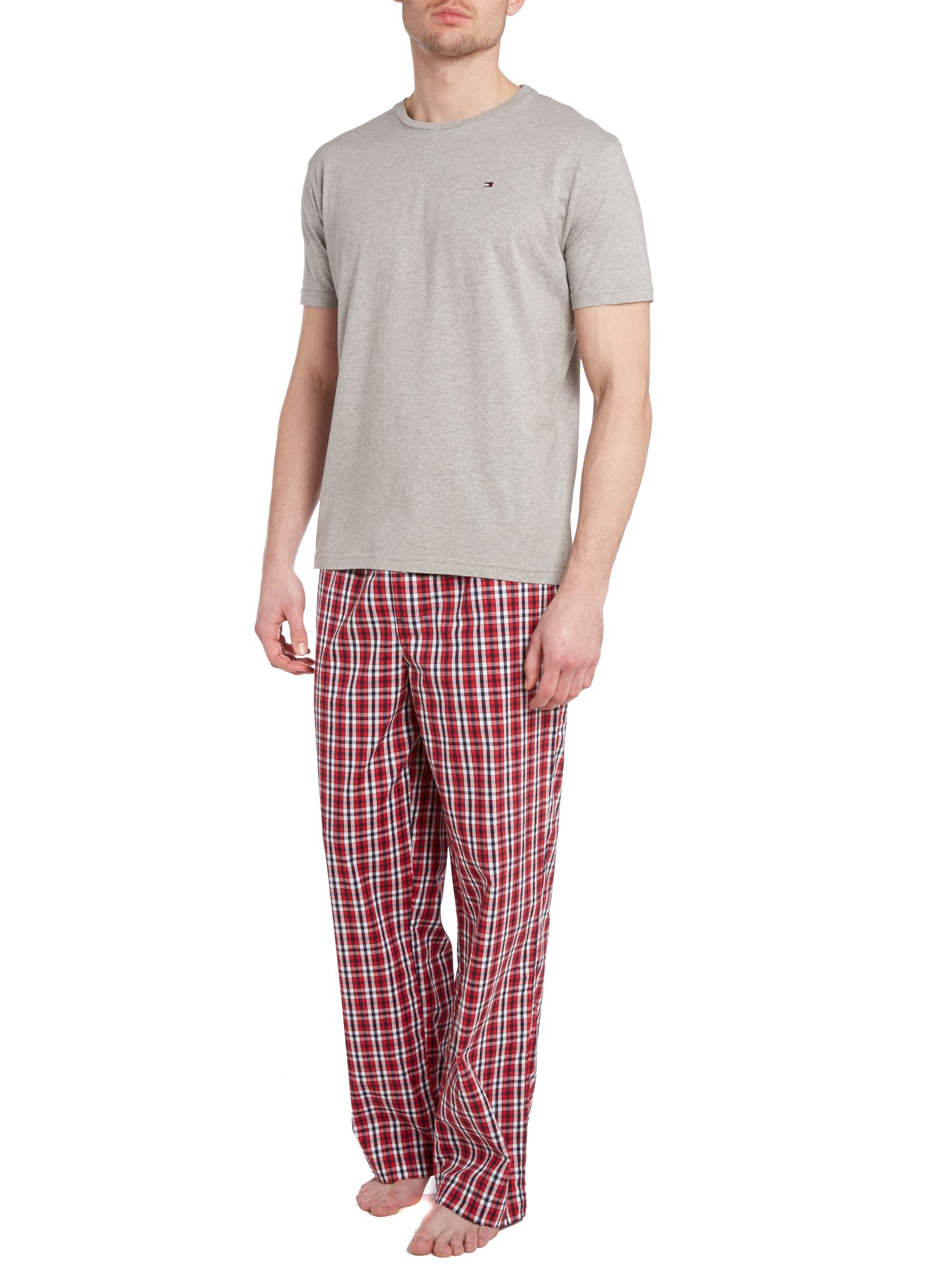 Woven check pant and top pj set