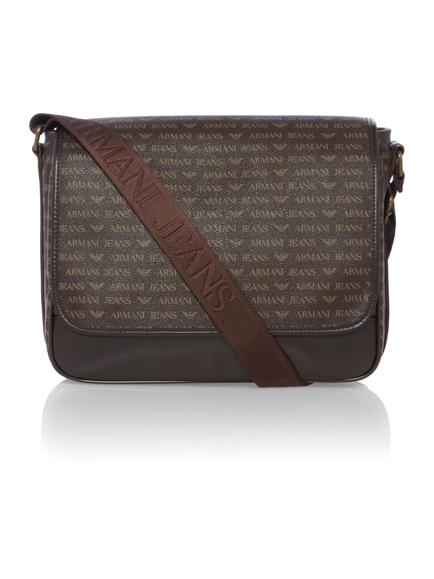 Eco leather all over logo messenger bag
