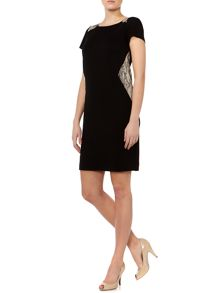 Isotta shift dress with snake print detail