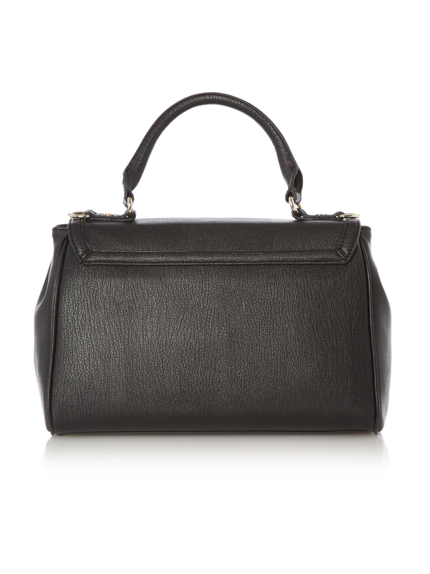 Black saffiano medium flapover satchel